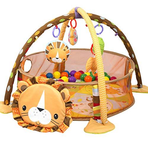 ZMH Portable Baby Spielzeug Haus Zaun-Set, 3 In 1 Löwe Aktivität Turnhalle Und Bällebad Baby Anti-Urin-Spiel-Pad Klettern Pad Fitness Rahmen Baby Kleinkind Pädagogisches Spielzeug