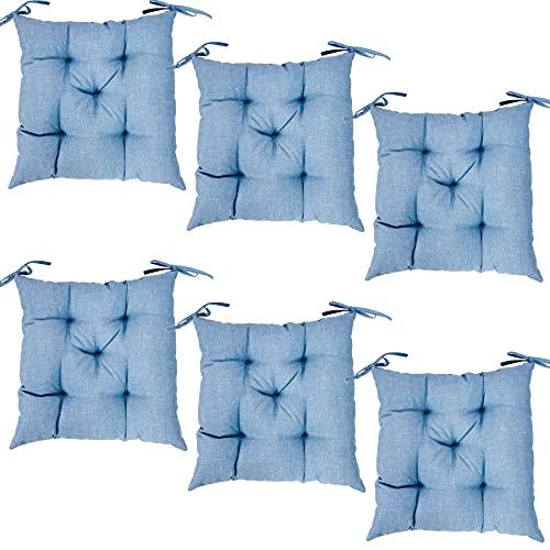Viste tu hogar Pack 6 Cojines para Silla, 45X45 CM, Relleno de Algodón, Color Liso, Ideal para la Decoración de Cocina y Sala, Color Azul, Fabricado en España