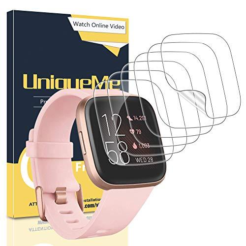UniqueMe [6 Pièces] Protection écran pour Fitbit Versa 2,[Case Friendly] Soft HD Clear TPU Film, Anti-Rayures avec Un Service après-Vente Parfait.