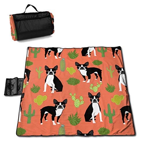 Grande Couverture de Pique-Nique en Plein air Boston Terrier Chiens Cactus Orange Sandproof Beach Mat Fourre-Tout pour Camping Randonnée Herbe Voyager