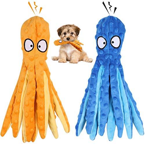 G.C 2 Stück Hundespielzeug Große Hunde, Hund Kauspielzeug Quietschspielzeug Plüschspielzeug, intelligenz unzerstörbares Tintenfisch Spielzeug für Mittelgroße Große Hündchen