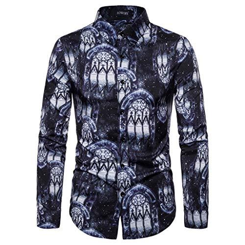 WGNNAA Herren Shirts Langärmelige Stehkragen Hemd Art-langärmliges Blumen Hemd Shirt Mercerisierte Baumwolle Modern Luxuriös Langarm Shirt Drucken Freizeit Hemden Größe S-XXL für 2019 Winter Herbst