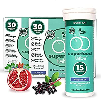 Superfood Tabs - 15 Plant-Based Superfoods in Every Drink, Skinnytabs Effervescent Skinny Tablets, Berry-Flavor, Burn Calories, Fight Bloating, Boosts Energy, 2-Pack of 30 Count, (60 Total Servings)