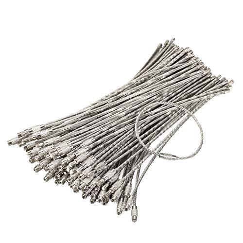 bayite Pack (100) Stainless Steel Wire Keychains Cable, Key Rings, Heavy Duty Luggage Tags Loops Tag Keepers 2mm Twist Barrel (Cable Length: 6 inches)