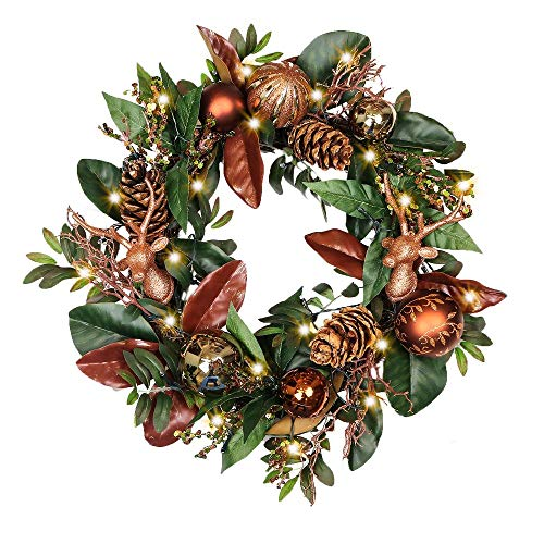 Valery Madelyn 45cm Large Pre-Lit Woodland Christmas Wreath with Remote Timer 8 Modes 20 LED Lights, Decorated with Glittery Ball Ornaments Pine Cones Reindeers, Battery Operated