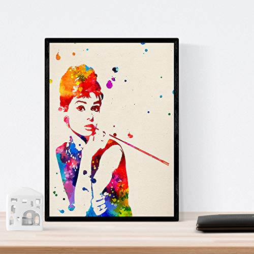 Audrey Hepburn-film voor inlijsten. nacnic. Laminas Decoratieve wand. Blad aquarel stijl. Creatief cadeau voor meisjes. papier van hoge kwaliteit 250 gram