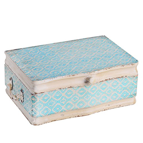NIKKY HOME Vintage Decorative Wood Case Keepsake Storage Box with Handle and Hinged Lid, 13 x 9.1 x 4.9 Inches, Pale Blue and Ivory