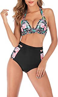 Women Bikini High Waisted Design Swimsuits Tummy Control Tankini Bathing Suits Two Piece Swimwear Set