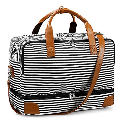 S-ZONE Canvas Travel Bag Weekend 45L Large Capacity Stripe Overnight Duffle Bag Carry on with Shoe Compartment Shoulder Tote Bag