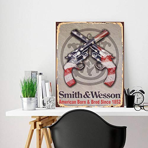 DKISEE Decoratieve Metal Sign Revolver Metal Sign Revolver Sign Smith and Wesson Gun Metal Sign Sign Art Metal Sign Metal Wall Sign gepersonaliseerd deur Sign, 8x12 inch / 20x30 cm