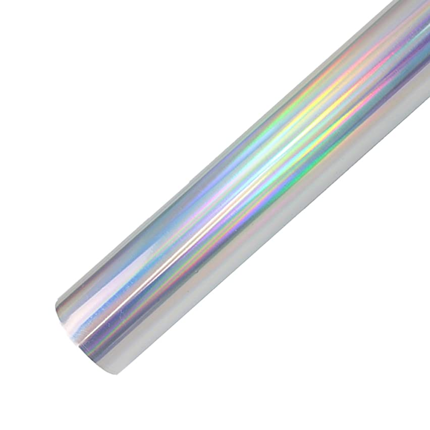 Holographic Heat Transfer Vinyl Opal HTV Roll for T-Shirts 12 Inches x 3 Feet (Silver)