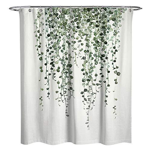 Centeraly Duschvorhang Aquarell Pflanzen Grün Eukalyptus Blätter Bad Vorhang Wasserdichtes Gewebe Quadrat Duschvorhang mit Haken