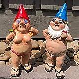 Chilits 1 Stück Lustig Gartenzwerg Kunstdekoration, Zwerg Gartenfiguren aus Kunstharz, Männlich& Weiblich Nacktes Gnomes Figurine für Rasen-Garten-Veranda Yard Haus Büro