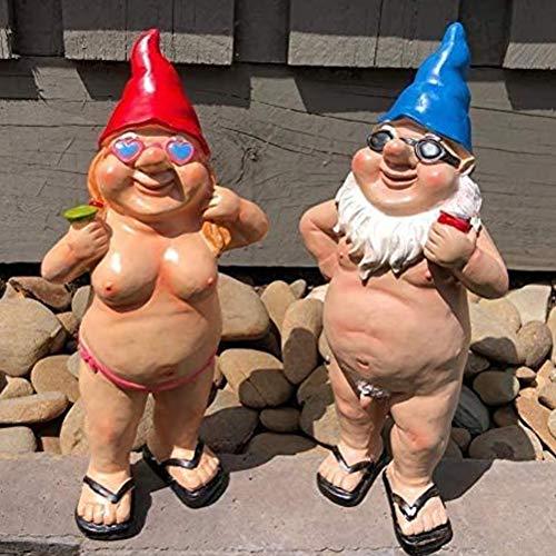 1St Lustige nackte Zwerge männlich & weiblich Nacktes Gnomes Figurine für Rasen-Garten-Yard Veranda Haus Büro,Frau