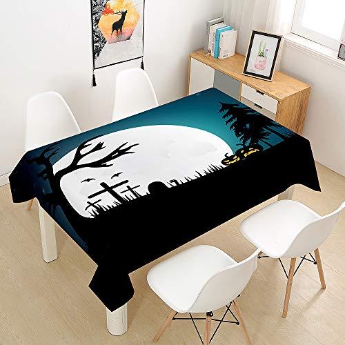 Chickwin Halloween Mantel para Mesa Rectangular - Impermeable Antimanchas - Tejido de poliéster - para Cocina Salón Comedor Jardín Decoración (Halloween-O,140 * 200cm)