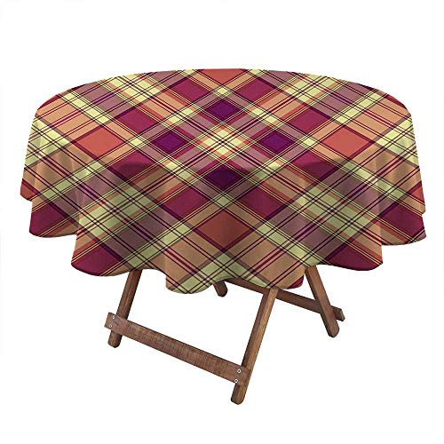 Round Tablecloths Retro Style Display with Vintage Scottish Celtic Striped Pattern Cocktail Table Cover for High Top Table, Bistro Table, Other Tables Purple Coral Light Yellow (Diameter 70 Inch)