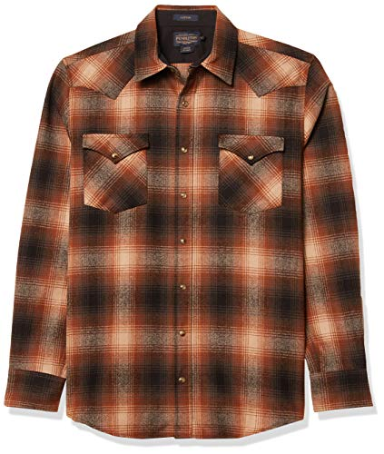 Pendleton Men's Long Sleeve Snap Front Classic Fit Canyon Wool Shirt, Black Solid, MD