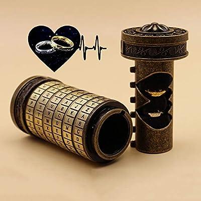 LUCY STORE Zinc Alloy The Da Vinci Code Lock Cylinder, for Valentine's Day Ideas, Interesting Birthday Gift to Boyfriend and Girlfriend(15 6 6CM) (Color : Bronze)