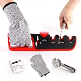 Knife Sharpeners Upgraded Set - Premium 4 Stage Blade Sharpening Tool Helps Restore, Renew, Polish Straight for Knives and Scissors - a Pair of Cut-Resistant Glove + pizza cutter + Instructions