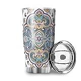 Mandala Lotus Taza de café de acero inoxidable, antigoteo, termo con doble pared, aislante, botella de viaje con tapa, vaso de agua para viajes, camping, coche, blanco, 600 ml