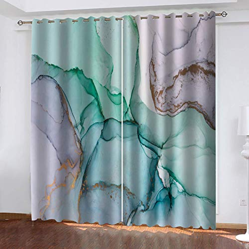 UDKHJH 3D Blackout Curtains - Green Gold Marble Stripes - Polyester Thermal Insulated Curtain,Energy Saving Reduce Noise Treatment For Bedroom Living Room Children'S Room 170X200Cm