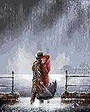 ZXlDXF Kit de pintura al óleo para adultos y niños, para besar en la lluvia, pintura por números, pinceles acrílicos coloridos para decoración de la pared del hogar, 40,6 x 50,8 cm