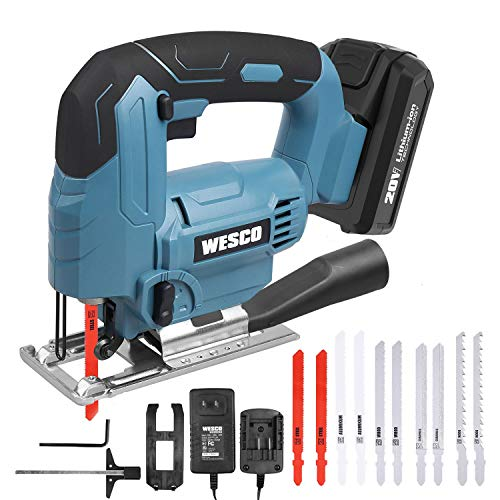 Cordless Jigsaw Tool, WESCO 20V 2.0A Jig Saw with Battery and Charger, 2500SPM, 45°Bevel Cutting, Adjustable Aluminum Base, 4 Orbital Setting for Woodworking (Dust Adapter/10pcs Saw Blade) WS2305U