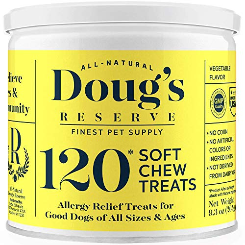 DOUG'S RESERVE Dog Allergy Chews for Itch Relief, Seasonal Allergies, Hot Spots - Remedy & Immunity Boost Supplement with Colostrum & Vitamin C. All Natural Ingredients, Made in USA - 120 Count