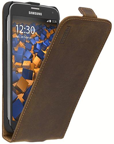 mumbi Echt Leder Flip Case kompatibel mit Samsung Galaxy S5 / S5 Neo Hülle Leder Tasche Case Wallet, braun