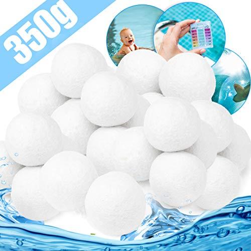 Filter Balls 350g Filterbälle Filter Sandfilteranlage, Extra langlebige Filter Balls für Glasklares Wasser Im Pool, Umweltfreundlicher Ersatz für Quarzsand und Filterglas