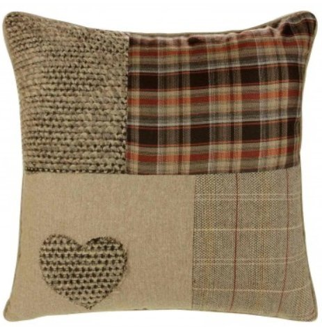 Supplied by Maple Textiles Patchwork Heart Cushion Covers, Wool Blend Cushions, Embroidered Tartan Check, Pillow Covers, 18' x 18', 45cm x 45cm (Natural) Brown and Orange
