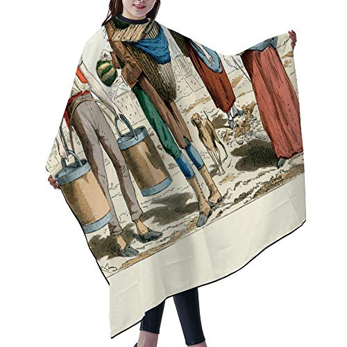 """SUPNON Professional Salon Cape Polyester Cape Hair Cutting Cape, Water And Stain Resistant Apron, 55""""x66"""", 18Th Century Water Carrier Mellon Merchant Pastry Vendor, IS000139"""