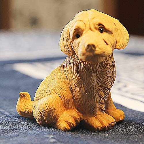 Yifuty Massivholz Tier Carving Hund Goldene Haarschmuck Kreative Haus Kunst Dekoration Möbel Autozubehör Geschenke, Boxwood Schnitzerei 80 * 70 * 55mm