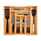 PURENJOY Bamboo Silverware Drawer Organizer, Adjustable Cutlery Tray/Utensil Holder and Flatware Organizer with Grooved Dividers for Kitchen, Bathroom, Desk (6-8 Compartments Expandable)