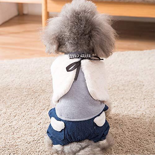 WEIJ Hond Leuke Warm Winter Jas Dik 4-benige Kostuum Jassen Bont en Pluche, S, Blauw