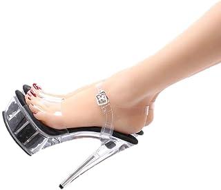 Ladies OpenToe Platform Sandals,Summer Transparent Rose Sandals,15Cm Crystal Super High Heel Sandals,Buckle Stilettos,Black,35 EU