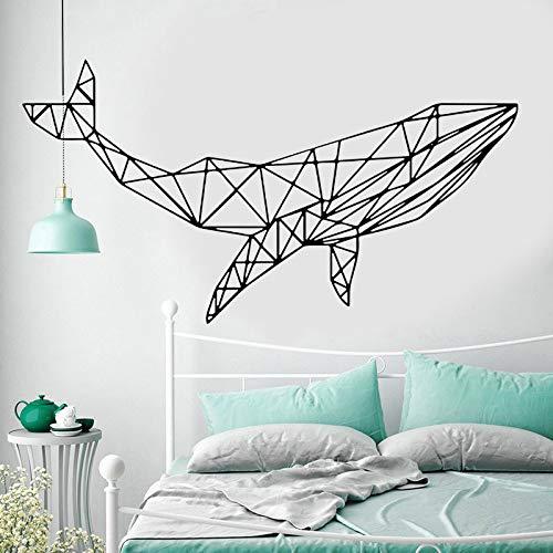 Etiqueta engomada geométrica de la pared de los animales de la ballena arte decoración del hogar para la sala de estar dormitorio decoración interior Mural calcomanías de pared A3 107x57cm