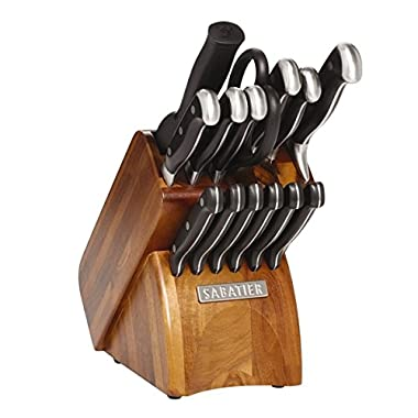 Sabatier 15-piece Forged Triple Rivited Concave with Acacia Block, Material: High Carbon Stainless Steel, Wood