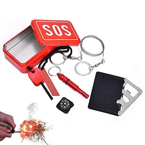 CHENKEE Kits de Supervivencia, 5 en 1 Multifuncional Kits Equipo de Supervivencia Fire Starter Magnesio Encendedor Kit SOS Supervivencia Waterproof Set para Acampada Senderismo Montañismo Viaje