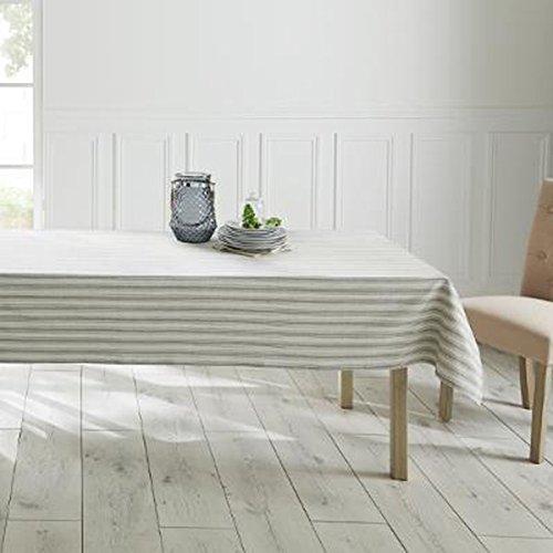 PEGANE Nappe rectangulaire Rayure en Coton Coloris Beige - Dim : L140 x l240 cm