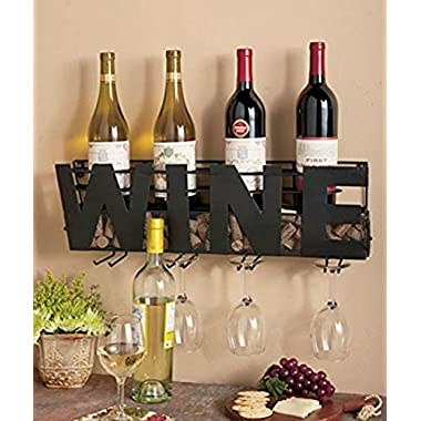 """Besti Premium Black Wall Mount Metal Wine Rack With """"WINE"""" Word By Hanging Horizontal Bottle Holder Storage Decorative Display – Sturdy Construction –Home Décor For Living Room Or Kitchen (Wine)"""