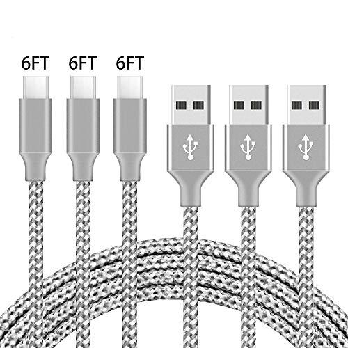 Egurs Usb Type C Kabel, 3Pack Nylon Gevlochten USB A naar USB C Oplader Kabel Snel Opladen Koord voor Samsung Galaxy Note 8 S8 S8+, MacBook, Google Pixel, Nintendo Switch, Nexus 6p, Sony XZ, LG V20 G5 G6, HUAWEI etc.