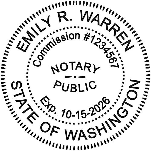 Round Notary Stamp for State of Washington- Self Inking Stamp - Top Brand Unit with Bottom Locking Cover for Longer Lasting Stamp - 5 Year Warranty