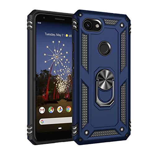 Google Pixel 3A Case, Extreme Protection Military Armor Dual Layer Protective Cover with 360 Degree Unbreakable Swivel Ring Kickstand for Google Pixel 3A Blue