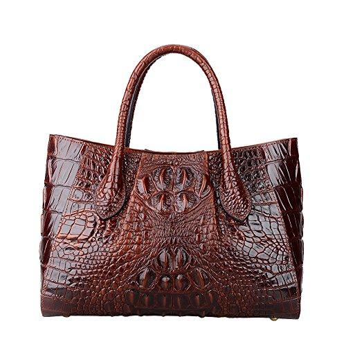 Jsix Krokodil-Muster Schultasche Henkeltasche Lehrertasche Umhängetasche Leder-Tasche Damen (Braun)