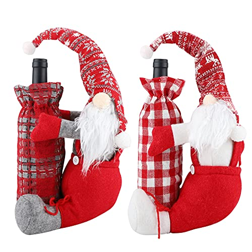 Gukasxi Juego de 2 fundas para botellas de vino de Navidad con gnomos suecos para botellas de vino, botellas de vino, de algodón, para Navidad, vacaciones, Año Nuevo, decoración de mesa, regalo