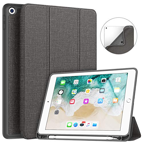 Soke iPad 9.7 2018/2017 Case with Pencil Holder, Smart iPad Case Trifold Stand with Shockproof Soft TPU Back Cover and Auto Sleep/Wake Function for iPad 9.7 inch 5th/6th Generation, Dark Grey