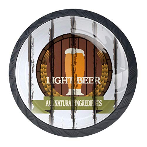 Alle natuurlijke ingrediënten bier etiketten op oud hout achtergrond 4 Stks kristal glas kast dressoir knoppen lade deur kabinet knoppen Pull handgrepen voor keuken badkamer uniek 35mm zwart03