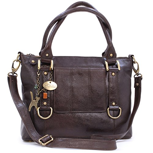 Catwalk Collection Handbags - Women's Leather Top Handle/Shoulder Bag/Cross Body With Detachable Strap - Photo ID Window/Travel Pass Holder - GALLERY - Brown
