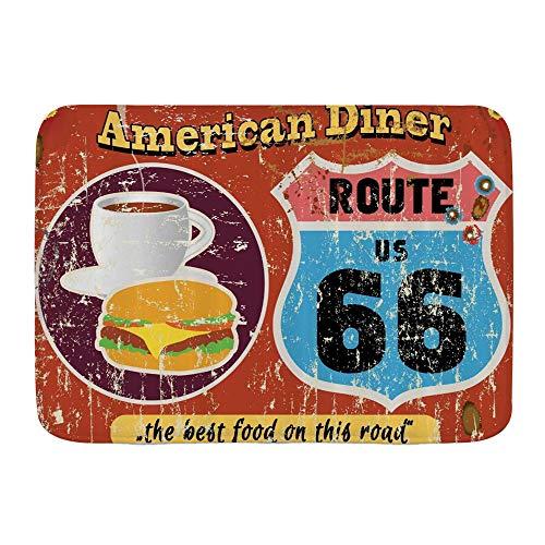 ELIENONO Tapis de Bain Absorbant Antidérapant,Route 66 American Diner Old Fashioned Sign Main Street of America Journey Famous Adventure,Microfibre de Chenille pour Salle de Bain,75 * 45cm